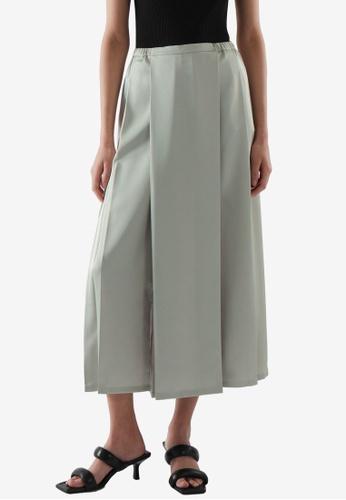 COS green Midi Pleated Skirt A3658AABD53647GS_1