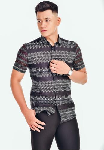 UA BOUTIQUE black Short Sleeve Shirt-SSB01 (Black/ Grey) UA752AA0SLKVMY_1