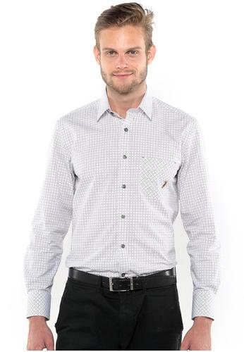 POLO HAUS multi Polo Haus Long Sleeve Shirt (Brown/White) PO783AA78BIVMY_1