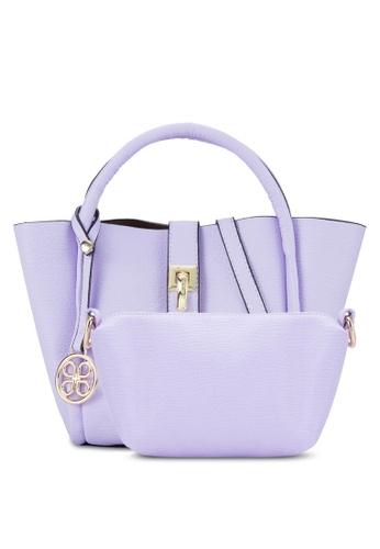 Unisa purple Textured Mini Tote Bag Set UN821AC90EIZMY_1