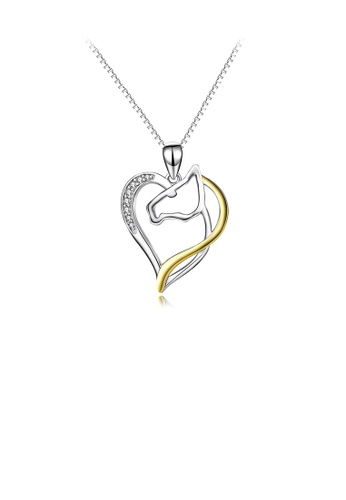 Glamorousky white 925 Sterling Silver Fashion Simple Two-color Horse Head Heart Pendant with Cubic Zirconia and Necklace 521CAAC27316A2GS_1