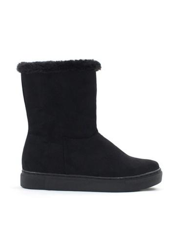 Crystal Korea Fashion black Korean Winter Flattering Raised Flanging Boots CR681SH2VVOKHK_1