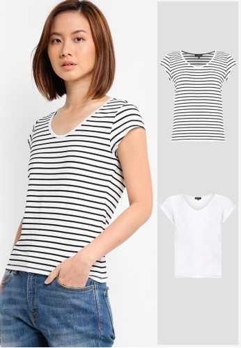 30d44d39acf87d ZALORA BASICS black and white 2 Pack Essential Scoop Neck Tee  ZA511AA0V4ZTMY 1