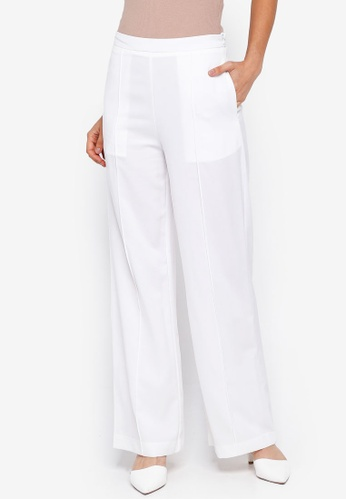 Lubna white Pintuck Pants 85B4CAA39DA0C4GS_1
