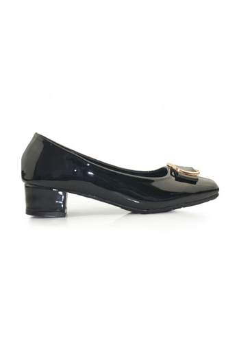 SHINE black Square Toe Buckle  Embellished Block Heels SH554SH33ORYSG_1