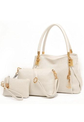 Jackbox white and beige Set of 3 Elegant Leather Purse Sling Bag Handbag Tote Bag 901 (White) LO761AC14RYZMY_1