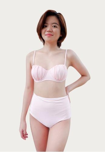Bluepalm pink Pink Ruched Top & High Waist Bikini Set 22FDBUS540DE85GS_1