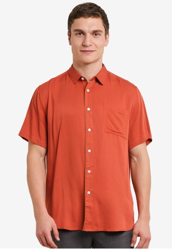 ZALORA 橘色 Relax Fit Short Sleeve Shirt with Contrast Tipping A8259AA9D02DE1GS_1