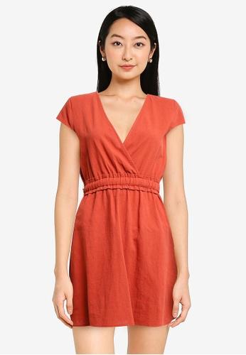 ZALORA BASICS orange Cap Sleeve Mini Dress with Waist Detail 6C31AAA9344CBDGS_1