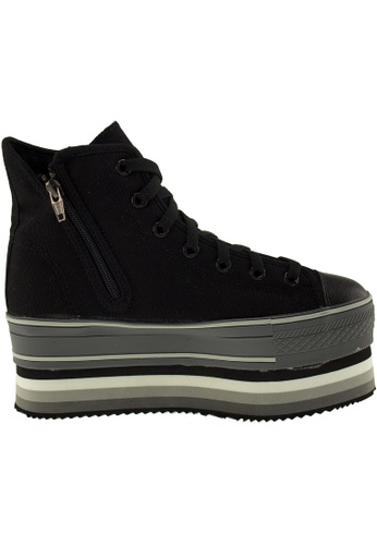 Maxstar black Maxstar Women's CN7 Zipper Line Double Platform Canvas High Top Sneakers US Women Size MA164SH89PQWSG_1