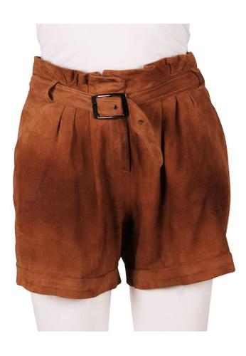 Tara Jarmon brown tara jarmon Brown Suede Goat Shorts 1D984AABA08F37GS_1