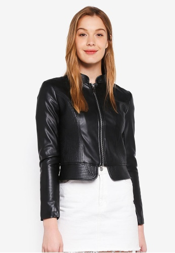 Guess black Juno Stand Collar Cropped Leather Jacket 5E2EEAA12C407BGS_1