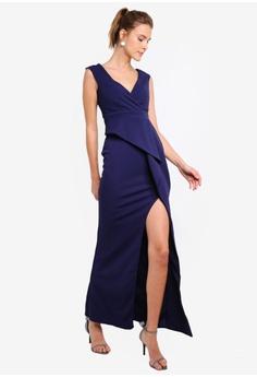 606efb69080d 40% OFF Goddiva Folded Peplum Maxi Dress RM 245.00 NOW RM 146.90 Sizes 6 8  10 12 14