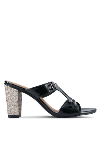 Spiffy black Casual Glitter Block Heels SP352SH0SRX1MY_1
