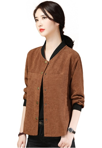 A-IN GIRLS brown Fashion Corduroy Stand Collar Coat C22D0AA9ED6DCAGS_1