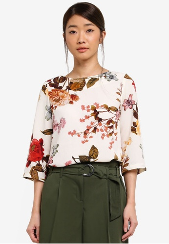 Dorothy Perkins white Ivory Floral 3/4 Sleeve Top 39575AA6EEC8C7GS_1