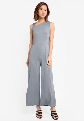 ZALORA black and white and multi Asymmetrical Neckline Jumpsuit 9E1BEAA056BA2DGS_1