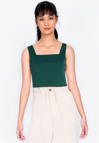 ZALORA BASICS green Squared Neck Fitted Crop Top 99036AA7F3F855GS_1