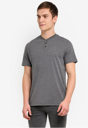 Burton Menswear London grey Short Sleeve Charcoal Grandad T-Shirt BU964AA0SILXMY_1