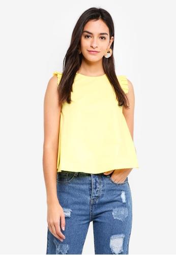 ZALORA yellow Ruffle Trim Top D0158AA2E67DD2GS_1