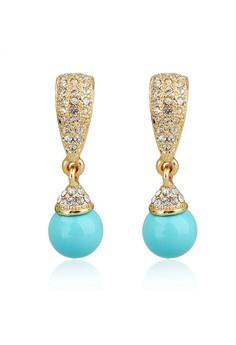 Pearl Dangling Studded Earrings by ZUMQA