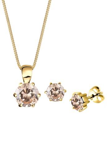925 經典閃鑽金牌項鍊及氧化鋯耳環組, 飾品配esprit分店地址件, 項鍊
