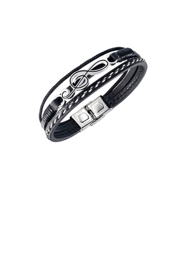 Glamorousky silver Fashion and Simple 316L Stainless Steel Music Note Multi-layer Leather Bracelet 355D2AC617A51BGS_1