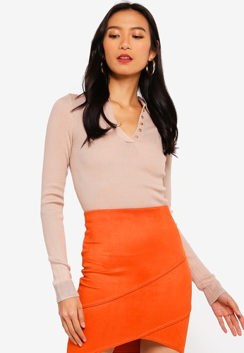 MISSGUIDED beige Collar Button Knitted Top 39175AAE4E0955GS_1