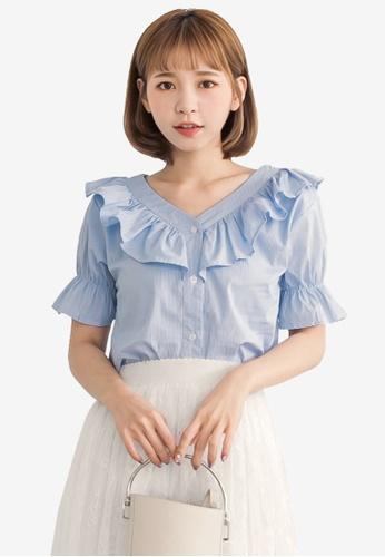 Tokichoi blue V Neck Striped Top FA645AACC23B23GS_1