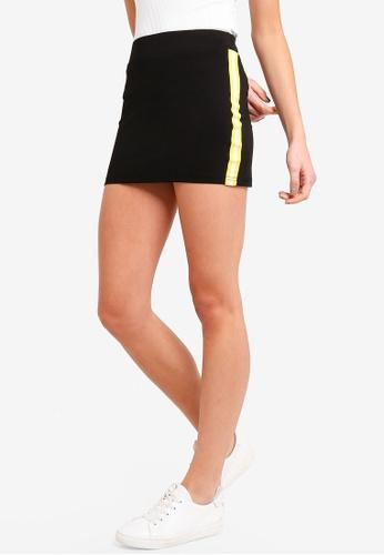 ZALORA BASICS black Basic Side Stripes Skirt 5586CAA551855EGS_1