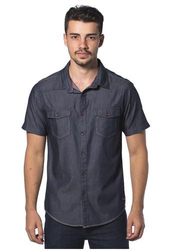 Bum Equipment blue B.U.M Equipment Men S/S Woven Shirt  (MD NAVY) BU054AA0RHCBMY_1