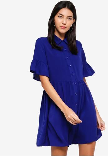 ZALORA blue Dropped Waist Button Down Dress 4805AAABE9E5FEGS_1