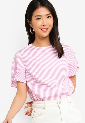 ZALORA BASICS pink and multi Basic Puff Sleeves Boxy Top 902B0AA18C9D7BGS_1