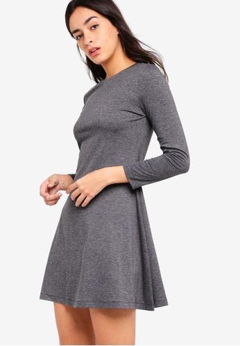 ZALORA BASICS grey Basic Long Sleeves Flare Dress D65A4AA5BE875FGS_1