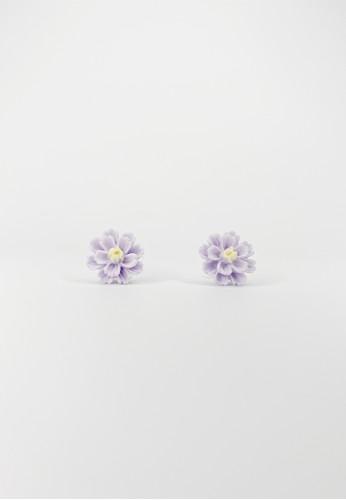 TOUGO purple Ruili Chrysant Flower Earrings in Lilac C2106ACC005FA3GS_1