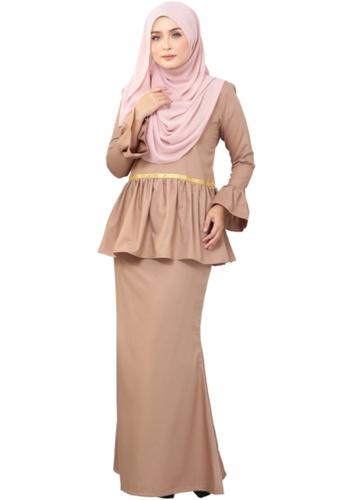 Kurung Peplum Marisa (AEPM03 Light Brown) from ANNIS EXCLUSIVE in Brown
