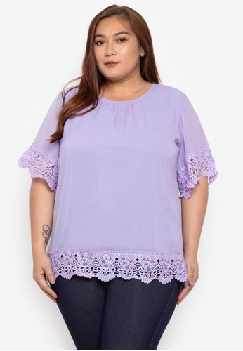 17876650bd5 Shop Divina Plus Size Blouse With Lace Trimmings Online on ZALORA  Philippines