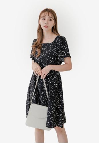 Eyescream black Ditzy Print Flutter Sleeve Tie Back Dress 45888AAF50DFDEGS_1