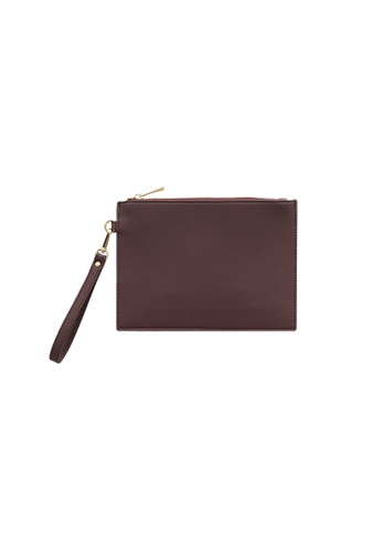 Knocks brown and red Wristlet Clutch Bag Burgundy 0D7A8ACC5F731BGS_1