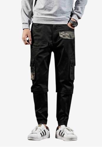 hk-ehunter black Front Flap Side Pockets Design Ankle-tied Pants A9D2FAA37B3D78GS_1