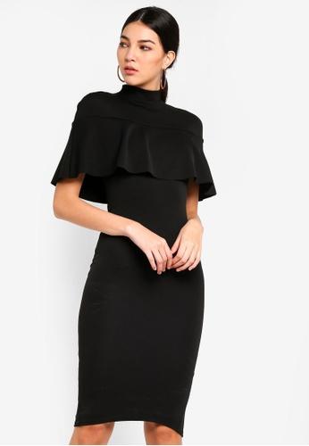 MISSGUIDED 黑色 Frill Overlay Midi Dress 05309AAF41B40CGS_1