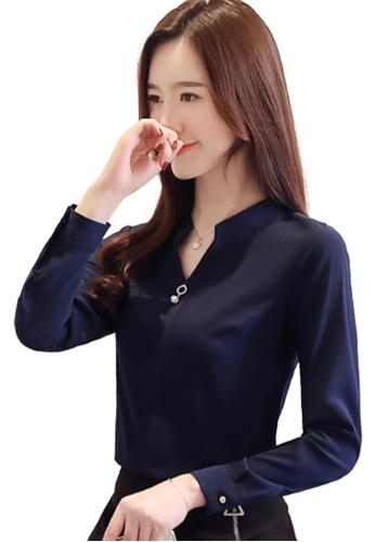 Halo 海軍藍色 OL長袖襯衫上衣 94CE1AAD53F94EGS_1