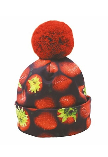 Mr Gugu & Miss Go black and red Strawberries Beanie MR924AC17SLUHK_1