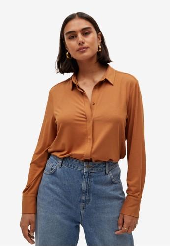 Violeta by MANGO orange Plus Size Modal Shirt DAE66AAB227A99GS_1