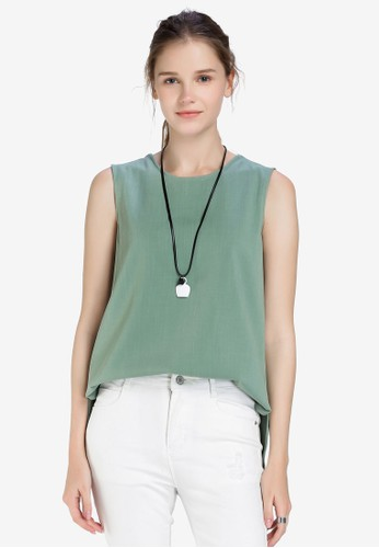 Hopeshow green Sleeveless Round Neck Blouse 3E20CAA4EE4A5CGS_1