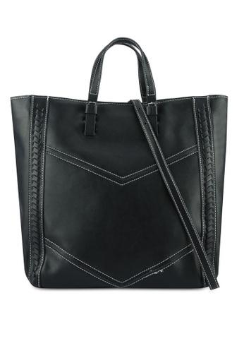 Mango black Contrast Seam Shopper Bag MA193AC0RMISMY_1