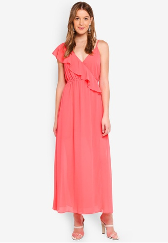 Angeleye pink One Shoulder Lace Ruffle Maxi 43941AAE905CA0GS_1