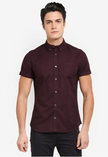 Burton Menswear London red Berry Short Sleeve Oxford Shirt 386EAAA48B2413GS_1
