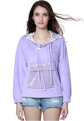 London Rag purple Fur Hoodie With Kangaroo Pockets 3AFD2AAA0D4276GS_1