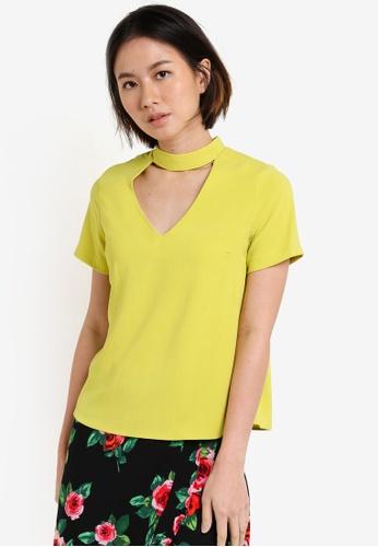 Dorothy Perkins green Petite Lime Choker Top DO816AA78UTLMY_1